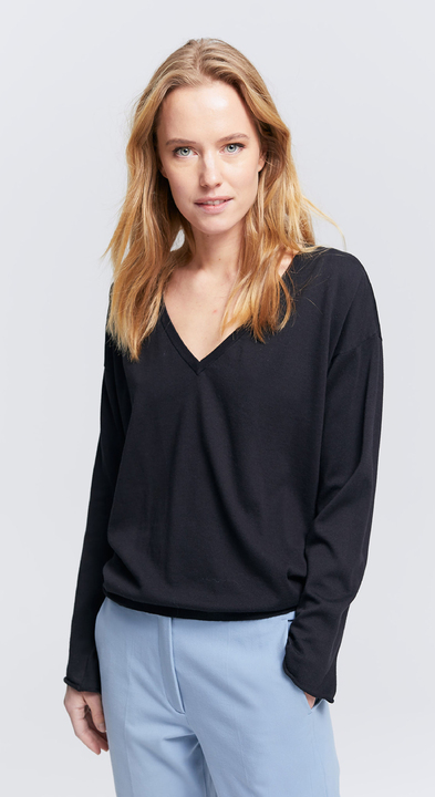Fine Cotton V-Neck Sweater