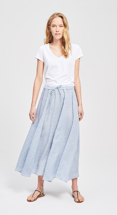 Chambray Linen Wide Skirt