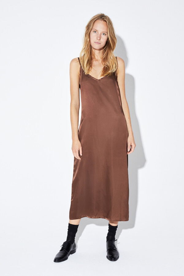 SLIP DRESS ANTIQUE GOLD