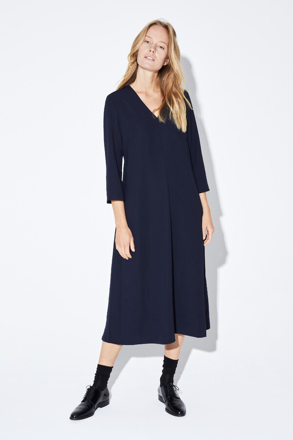 RELAXED FIT V-NECK DRESS MIDNIGHT BLUE