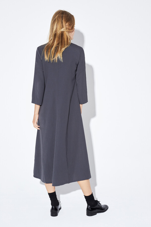 RELAXED FIT V-NECK DRESS GREY