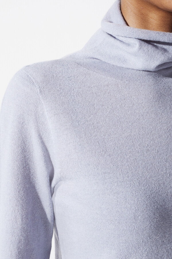 CASHMERE MIX TURTLENECK PULL BLUE BELL