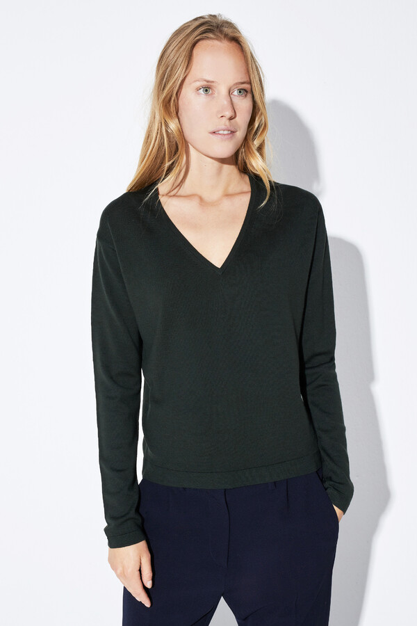 MERINO V-NECK PULLOVER DARK GREEN