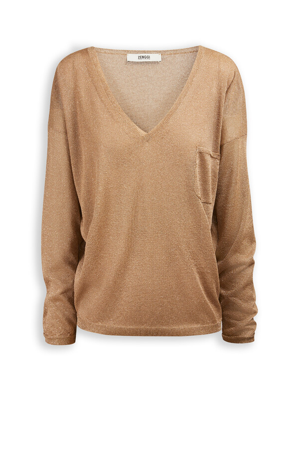 SPARKLING V-NECK PULLOVER ANTIQUE GOLD