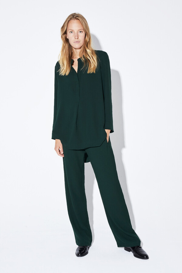 DRAPY TUNIC BLOUSE DEEP GREEN