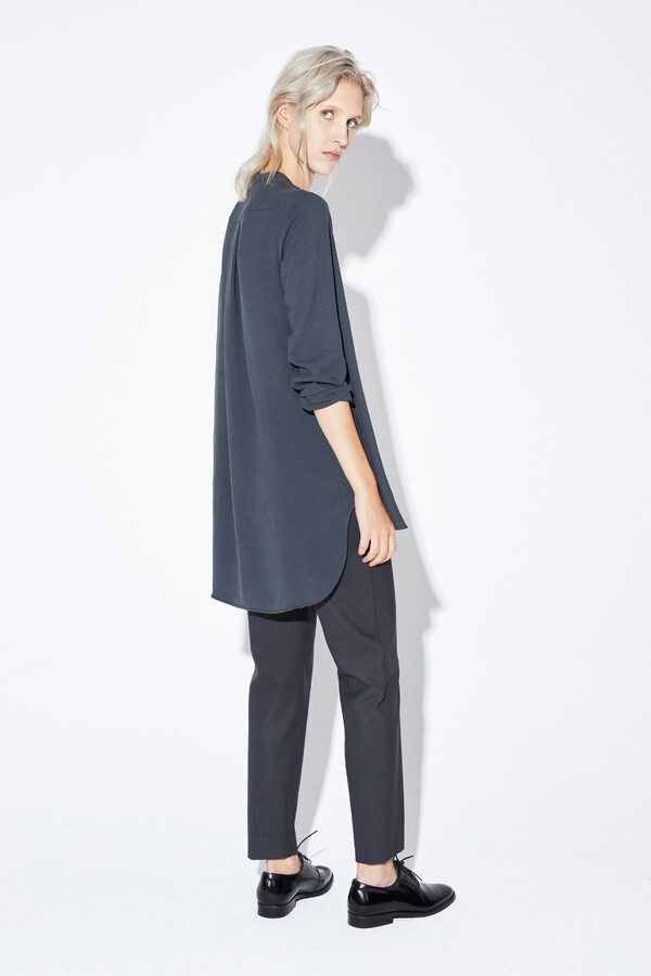 DRAPY TUNIC BLOUSE GREY