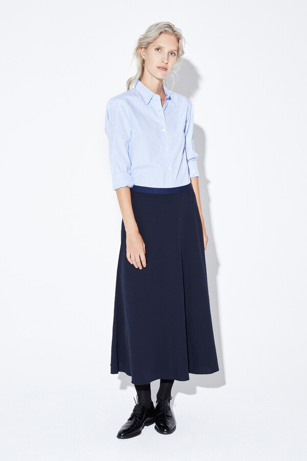 DRAPY CREPE SKIRT MIDNIGHT BLUE