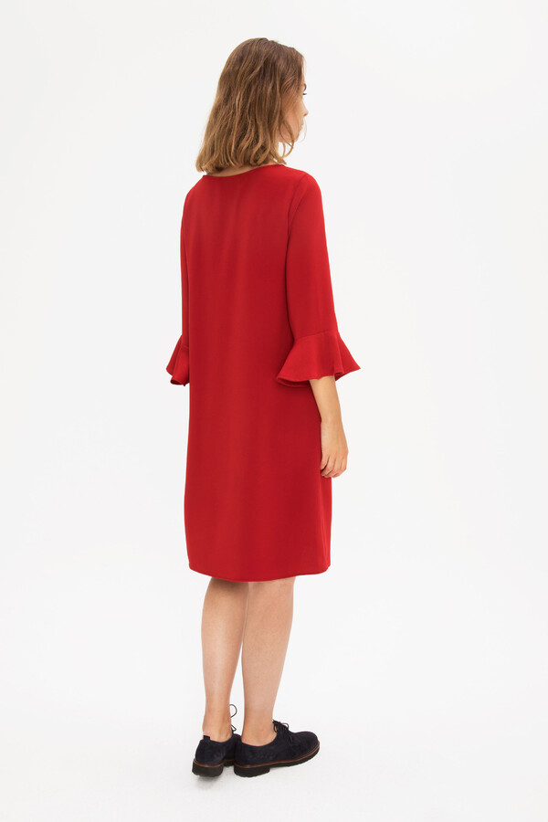 STRAIGHT CREPE DRESS NOMADIC RED