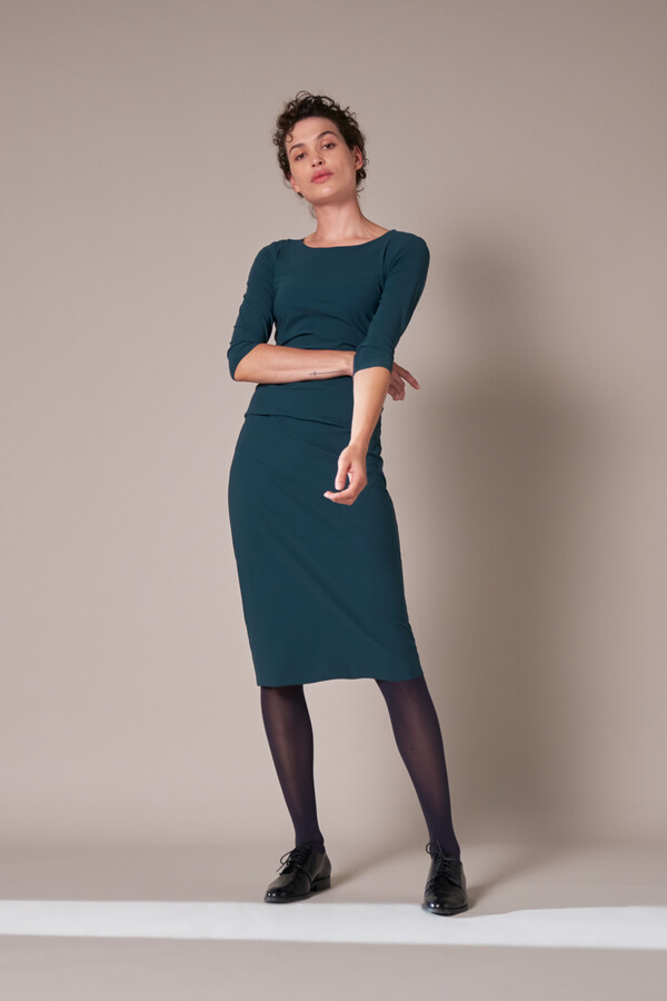 RUCHED DRESS DEEP TEAL