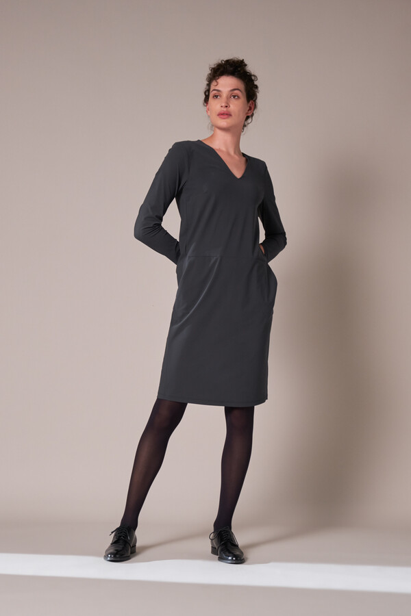 POCKET DRESS LONG SLEEVE STEEL GREY