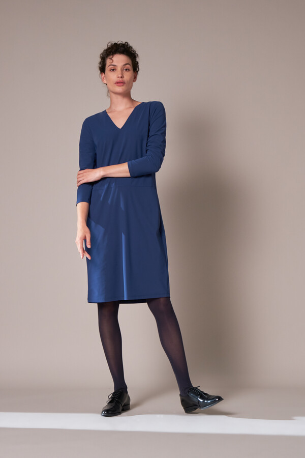 POCKET DRESS LONG SLEEVE DEEP BLUE