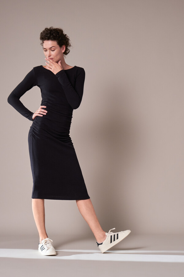 GATHERED DRESS BLACK