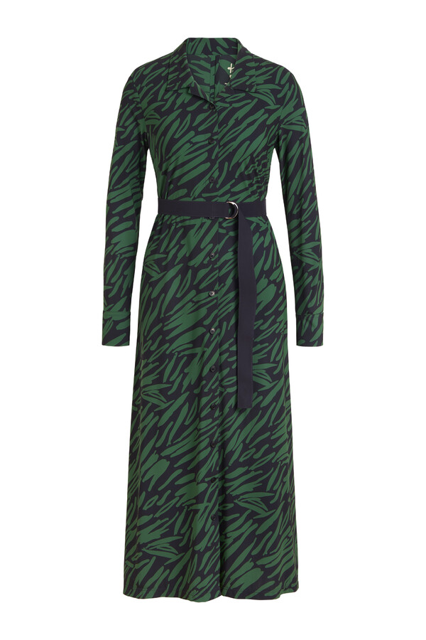 LONG SLEEVE SHIRT DRESS PRINT GREEN