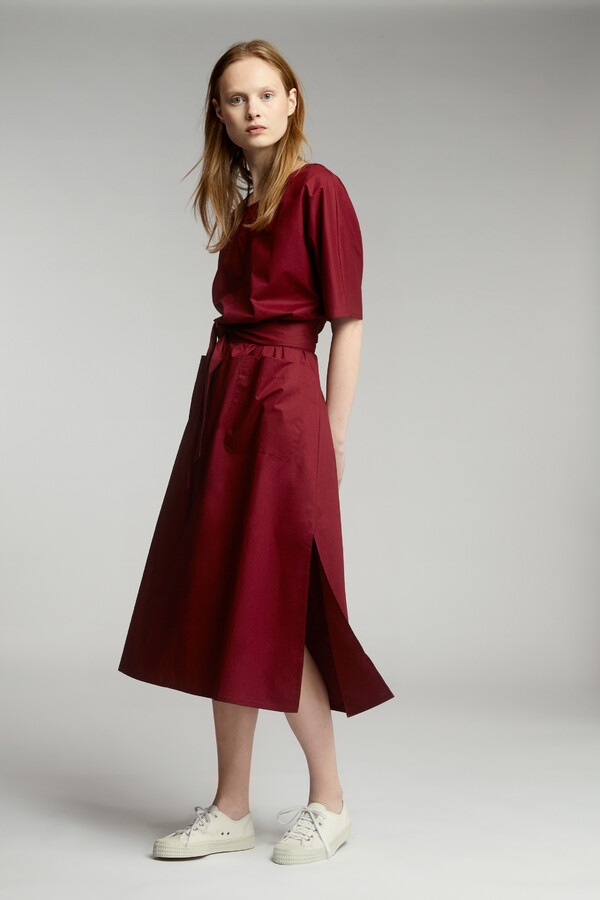 RELAXED COTTON DRESS CARDINALE
