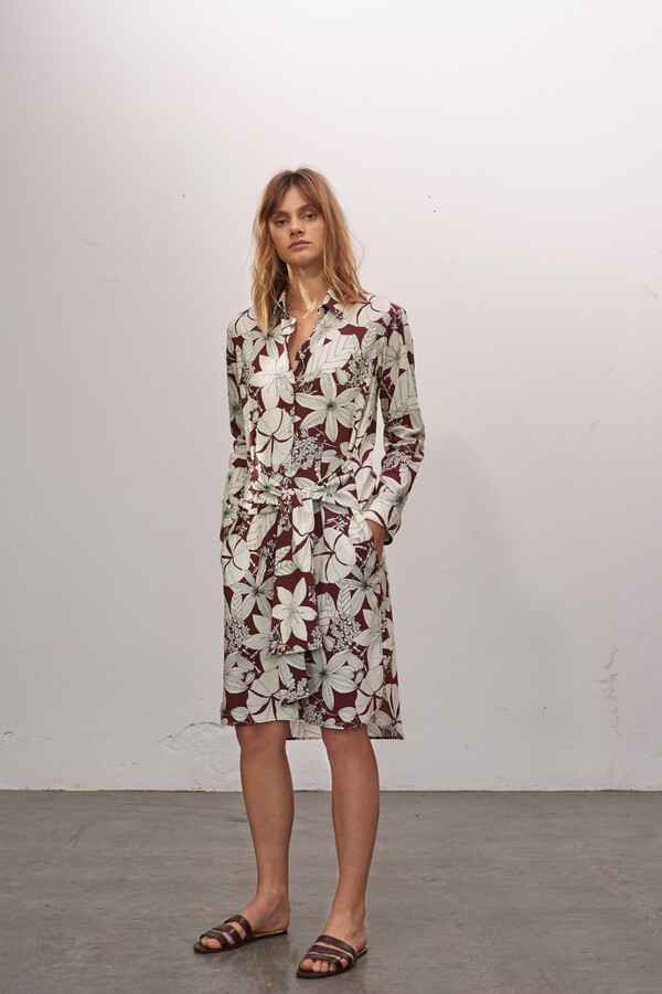 COTTON PRINT SHIRT DRESS CARDINALE