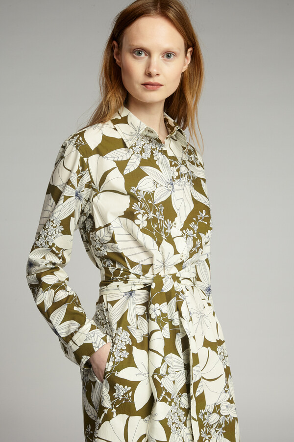 COTTON PRINT SHIRT DRESS SAFARI GREEN