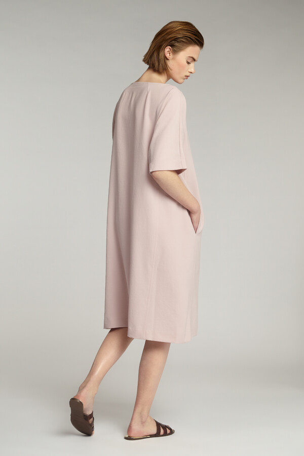 JAPANESE CREPE LOOSE DRESS FADED ROSE