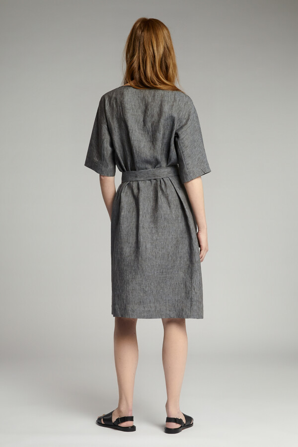 LINEN DELAVE LOOSE DRESS CHARCOAL