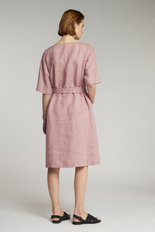 LINEN DELAVE LOOSE DRESS ROSEWATER