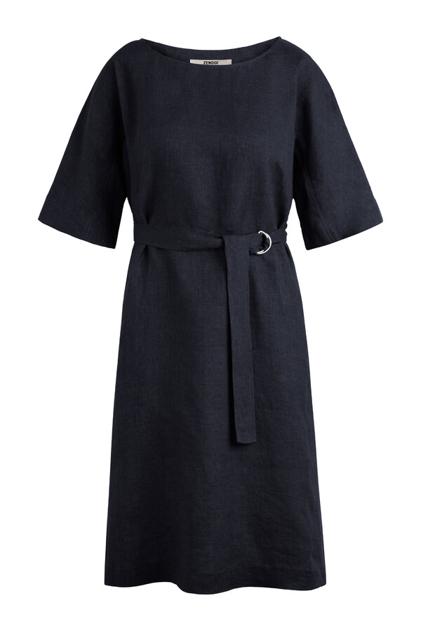 LINEN DELAVE LOOSE DRESS MIDNIGHT BLUE