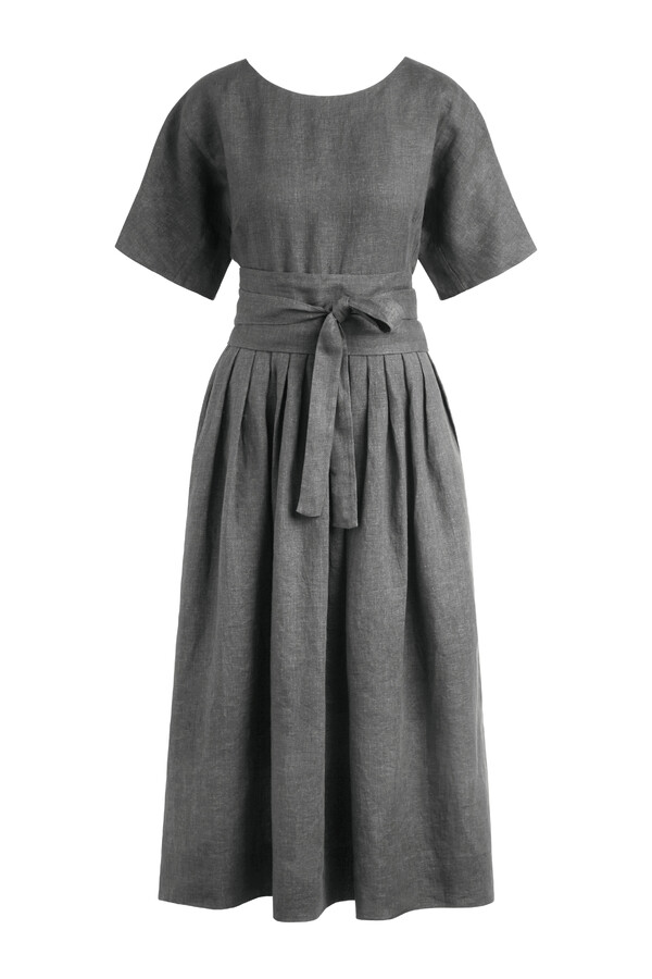 LINEN DELAVE PLEATED DRESS CHARCOAL