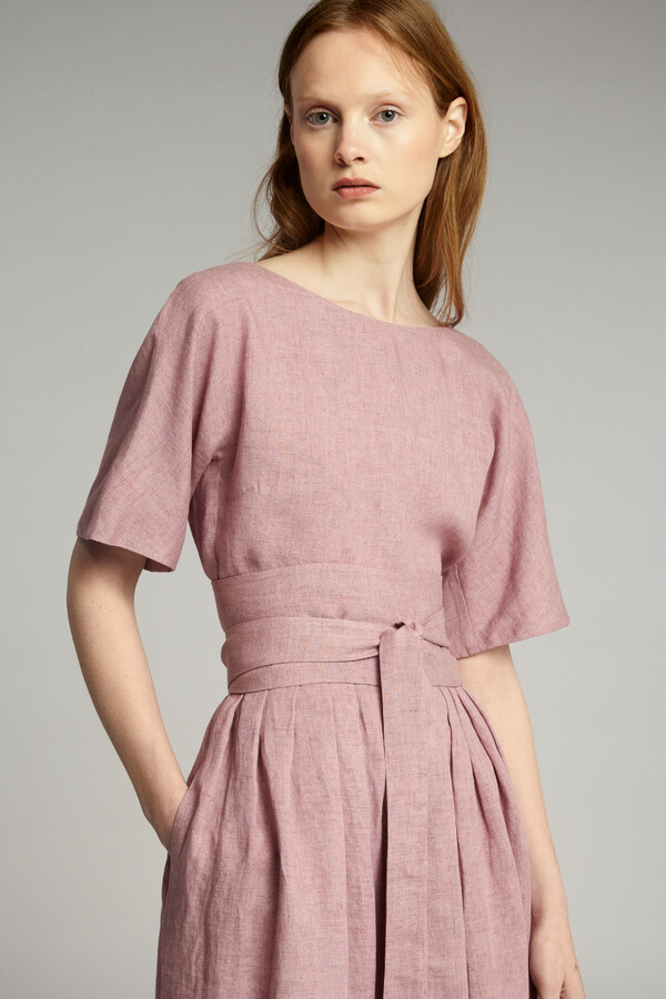 LINEN DELAVE PLEATED DRESS ROSEWATER