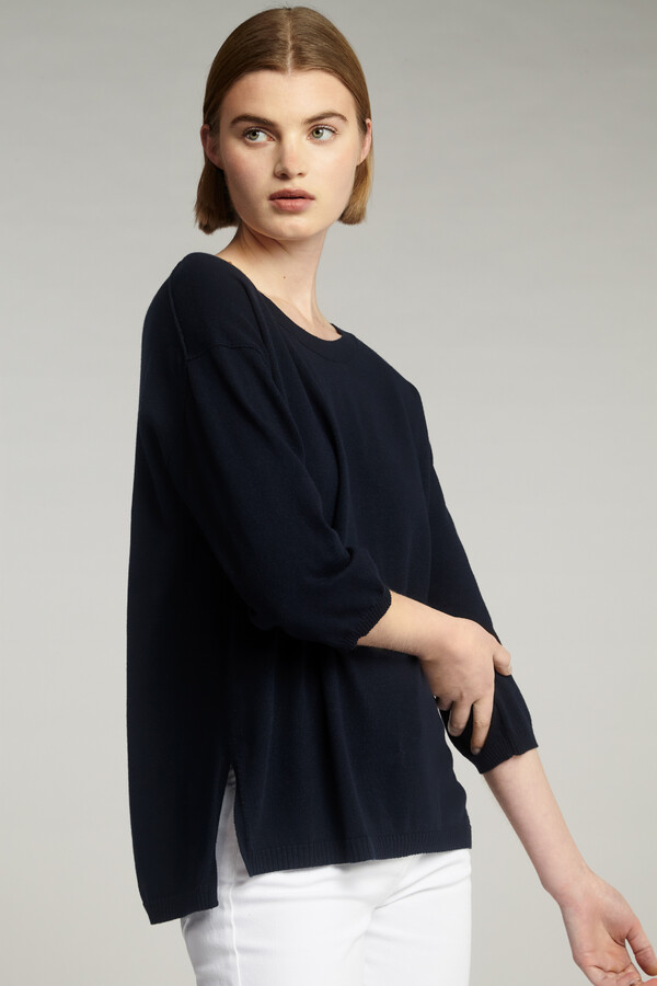 COTTON CREW TOP MIDNIGHT BLUE