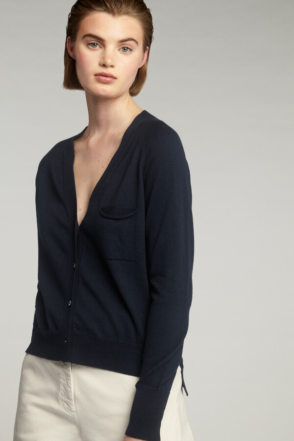 COTTON CARDIGAN MIDNIGHT BLUE