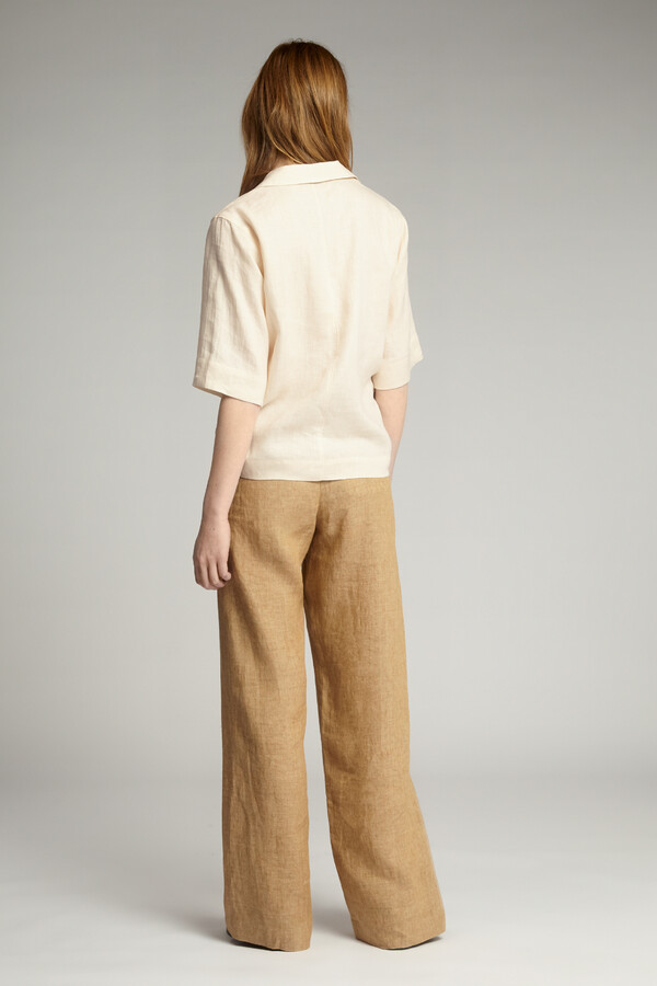 LINEN SHORT-SLEEVE NOTCH SHIRT LATTE