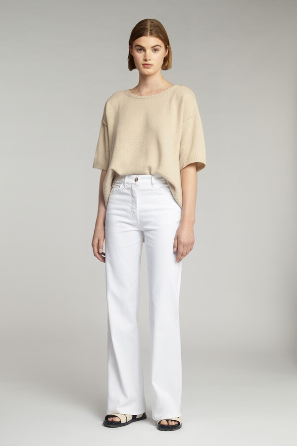 FLARED TWILL PANTS OFF WHITE