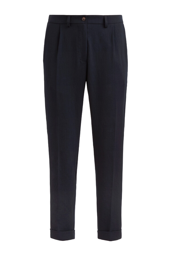 JAPANESE CREPE MAINE PANTS MIDNIGHT BLUE