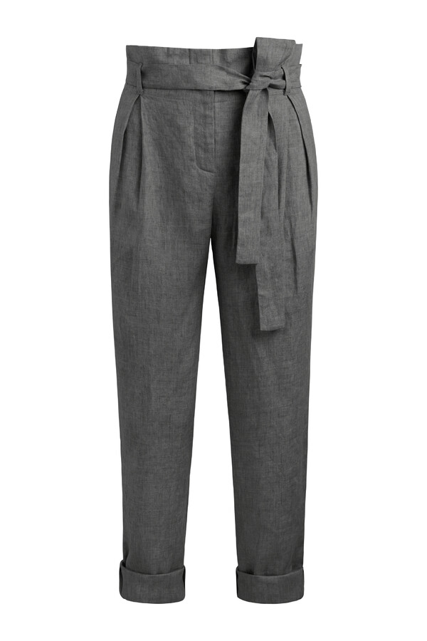 LINEN DELAVE CROP PANTS CHARCOAL