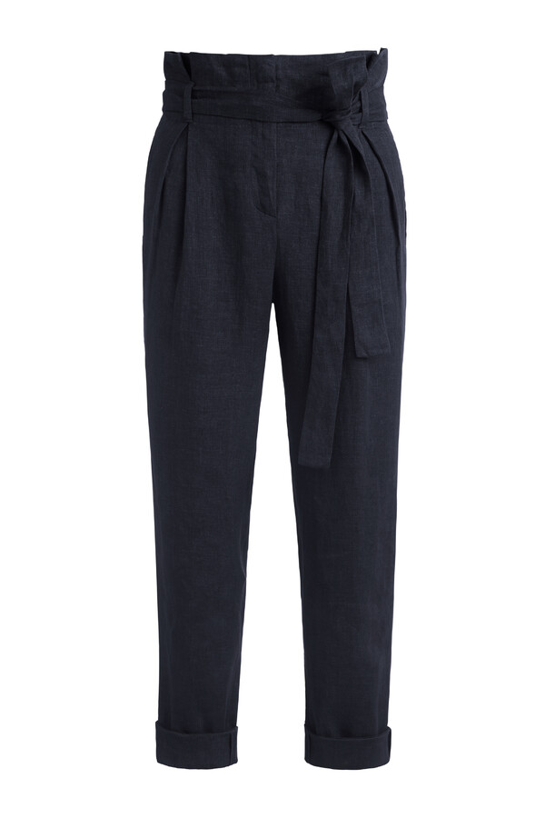 LINEN DELAVE CROP PANTS MIDNIGHT BLUE