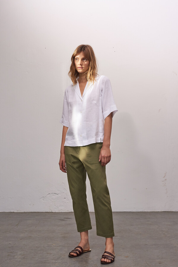 COTTON RELAXED PANTS SAFARI GREEN