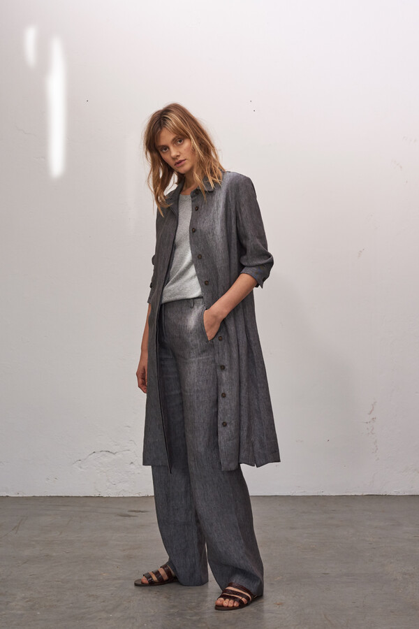LINEN DELAVE WIDE LEG PANTS CHARCOAL