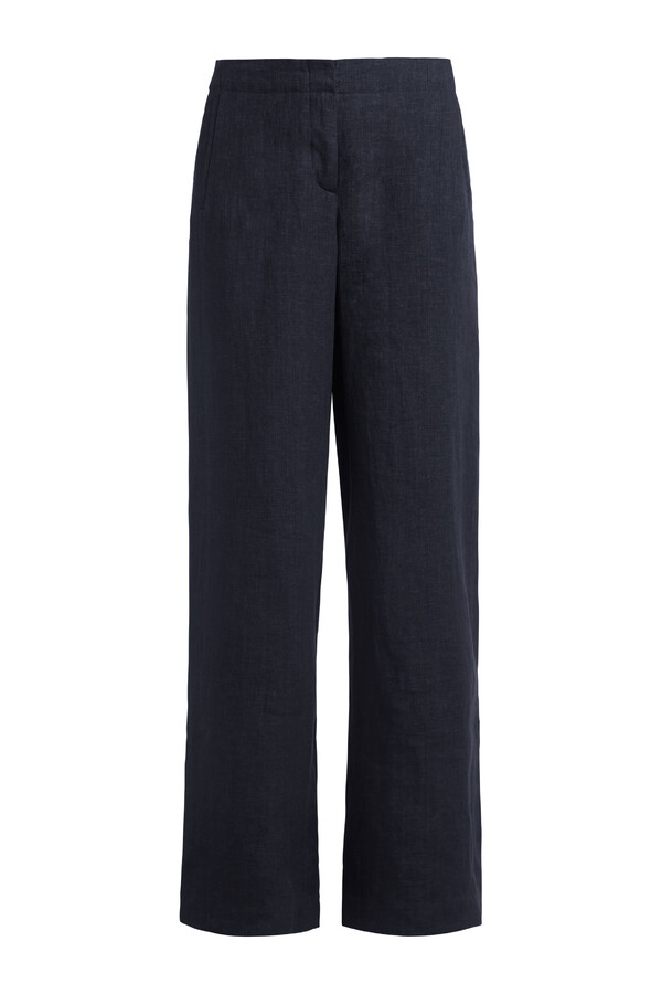 LINEN DELAVE WIDE LEG PANTS MIDNIGHT BLUE