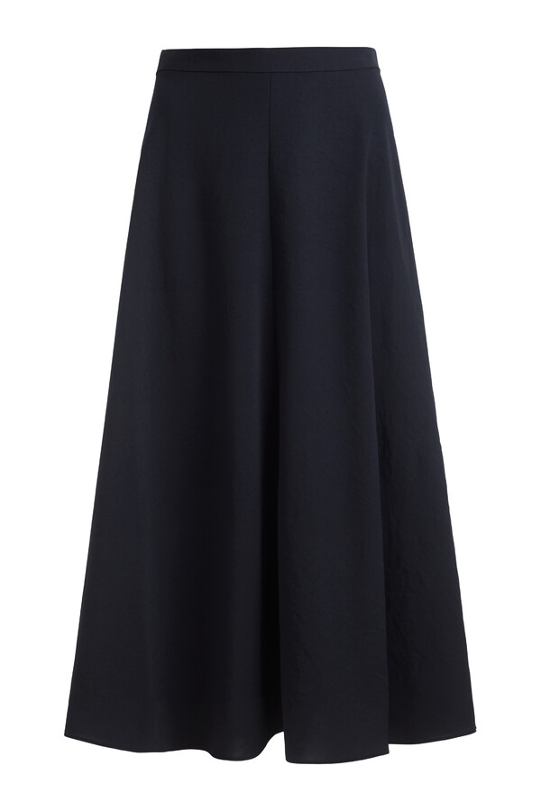 JAPANESE CREPE LONG SKIRT MIDNIGHT BLUE