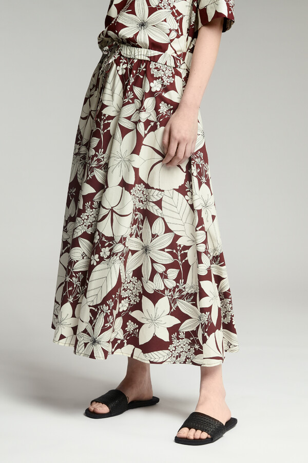 COTTON PRINT DRAWSTRING SKIRT CARDINALE