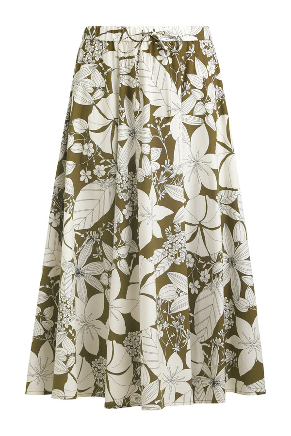 COTTON PRINT DRAWSTRING SKIRT SAFARI GREEN