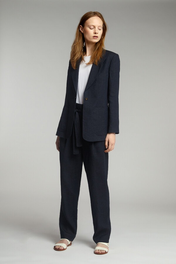 LINEN DELAVE BLAZER MIDNIGHT BLUE