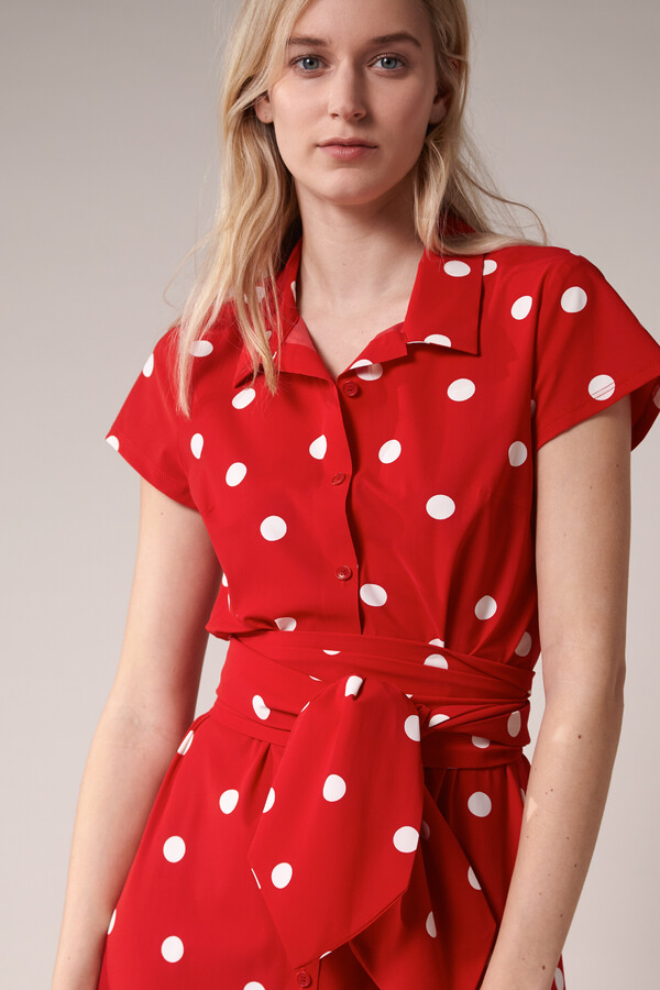 LONG SHIRT DRESS DOT PRINT RADICAL RED