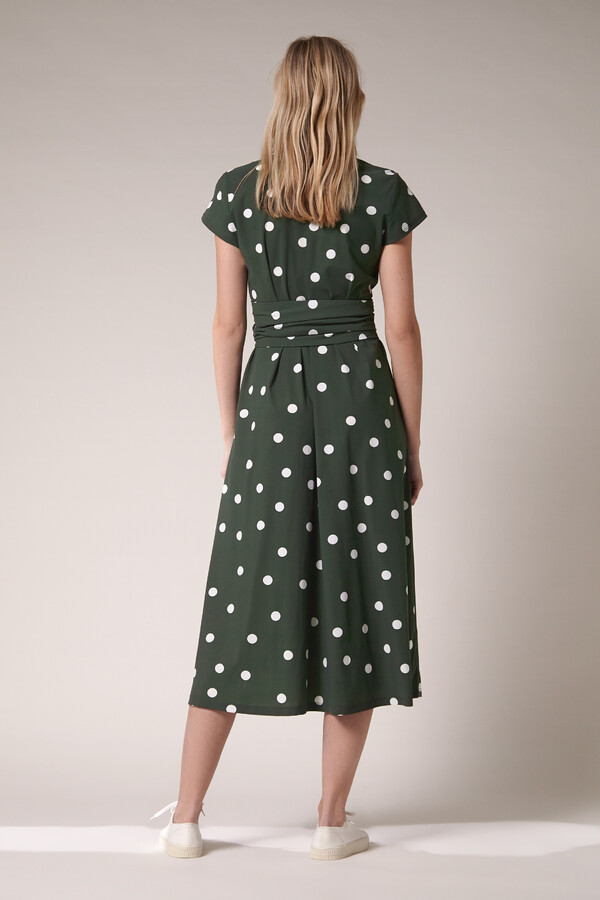 LONG SHIRT DRESS DOT PRINT GREEN