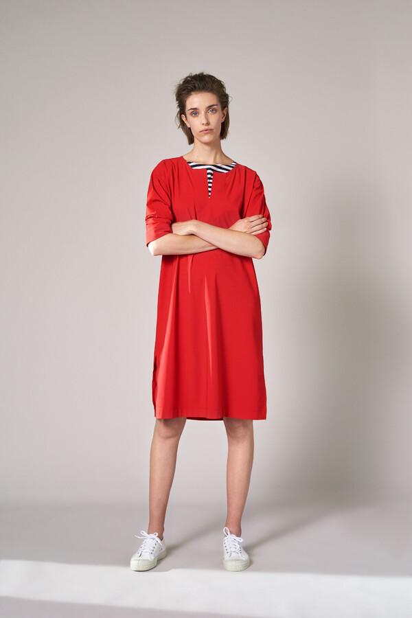 STRAIGHT TUNIC DRESS RADICAL RED