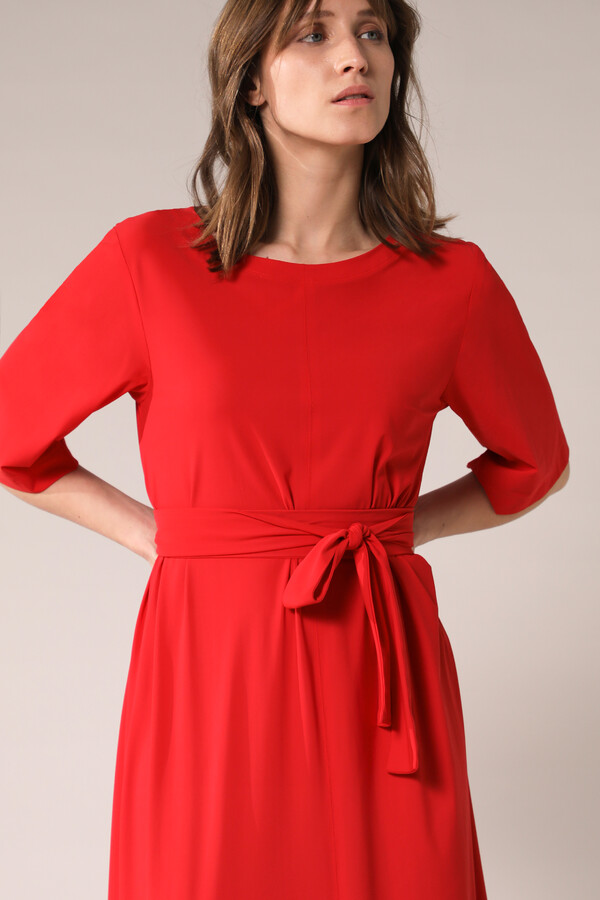 LONG WIDE TEE DRESS RADICAL RED