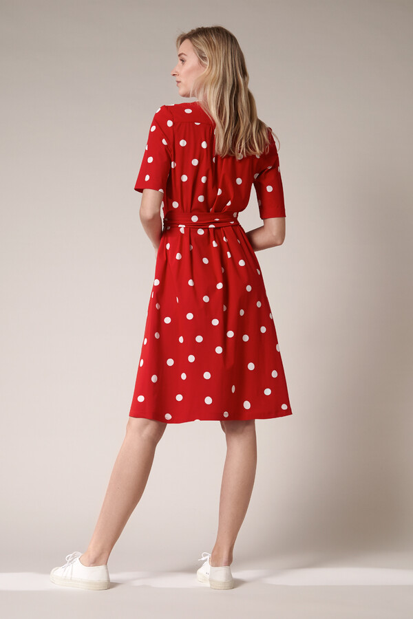 SHORT SLEEVE DRESS DOT PRINT RADICAL RED