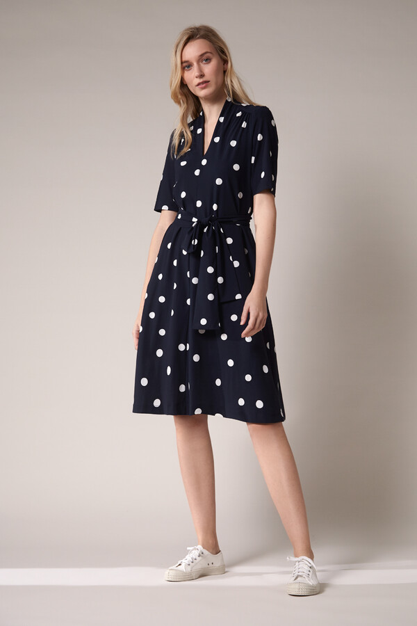 SHORT SLEEVE DRESS DOT PRINT INK BLUE