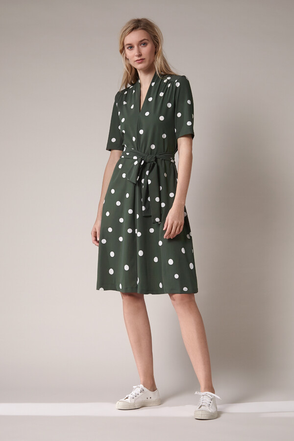 SHORT SLEEVE DRESS DOT PRINT GREEN