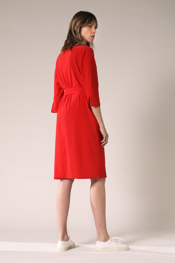 PLEATED DRESS RADICAL RED