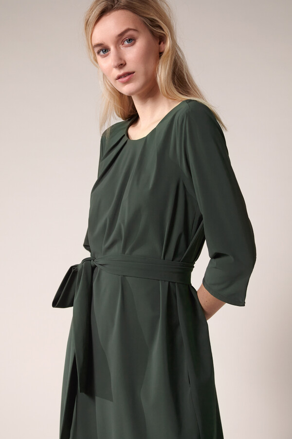 PLEATED DRESS GREEN