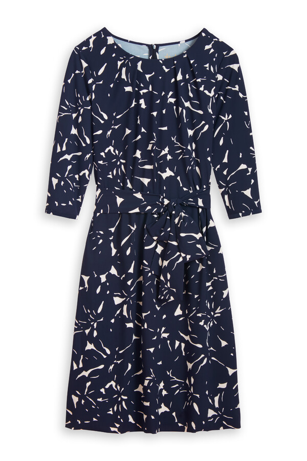 PLEATED DRESS FLOWER PRINT INK BLUE